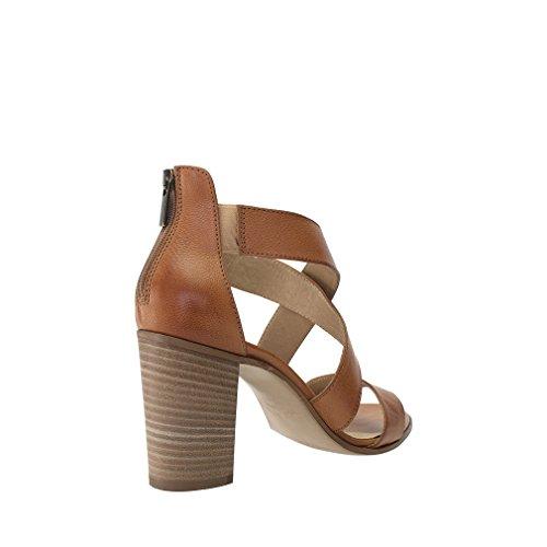 8100 Melrose Cuir Marron Sangle Croisée Sandale Taille 35