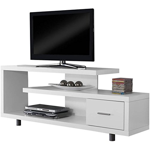 (Contemporary Television Stand Entertainment Center Constructed with Thick Panels Accommodate up to 60