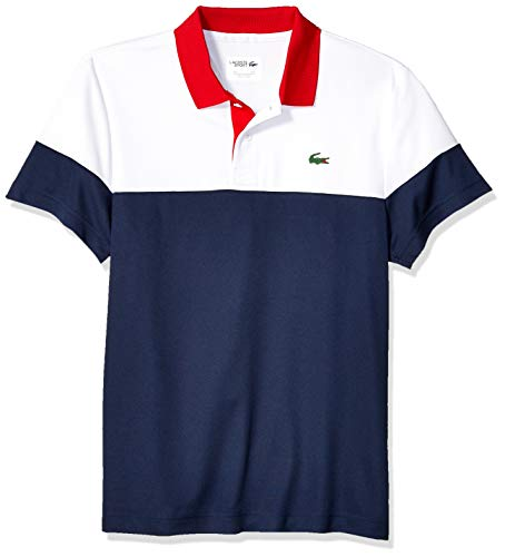 Lacoste Men's Sport Short Sleeve Color Blocked Polo, White/Navy Blue/red, X-Large