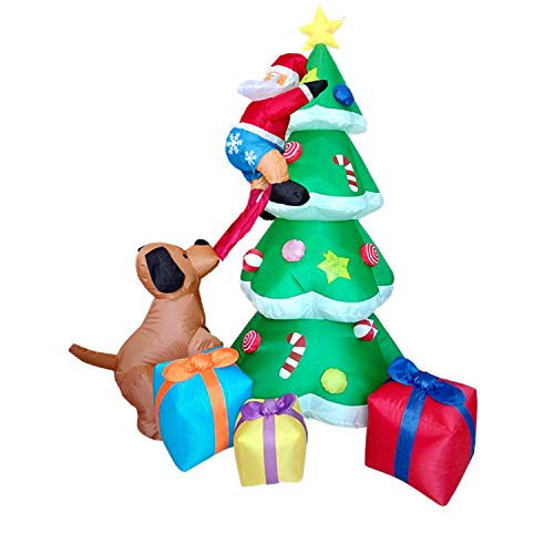7 Foot Tall Inflatable Christmas Tree, Airblown Santa Claus Climbing Tree Chased by A Puppy Dog Biting Santa's Pants, Waterproof LED Light Up for Home Outdoor Yard Lawn Garden Porch Decoration