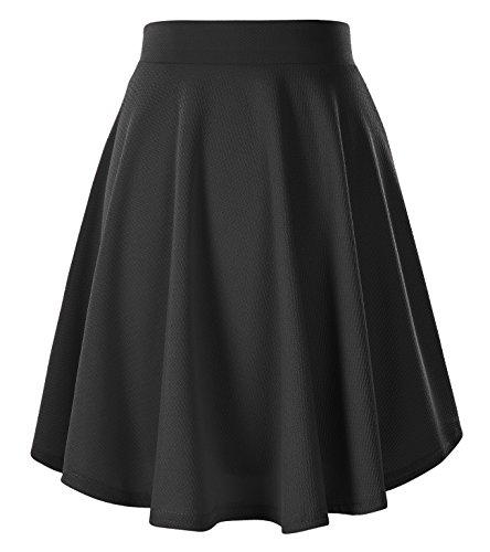 Urban CoCo Women's Basic Versatile Stretchy Flared Casual Mini Skater Skirt (Medium, Black-Long)