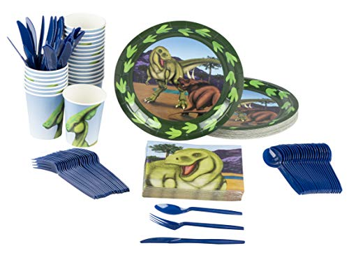 Juvale Dinosaur Party Supplies – Serves 24 – Includes Plates, Knives, Spoons, Forks, Cups and Napkins. Perfect Dinosaur Birthday Party Pack for Kids Dino Themed Parties. by Juvale