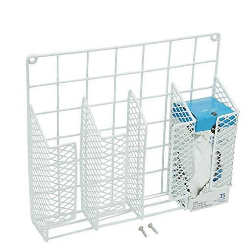 DecorRack Cabinet Door Mount Kitchen Storage Organizer Basket, Wrap Organizer Rack, Space Saving Drawer Grid Holder for Cleaning Supplies, Bottles, Steel with White Plastic Coating (2 pack) by DecorRack