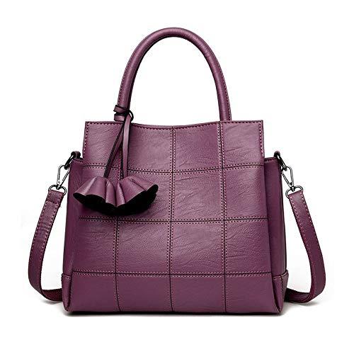 7f357dae66f0a Fashion Plaid Leather Women Bags Handbags Women Famous Brands Luxury  Designer Rose Female Shoulder Bag Ladies Sac a Main Color PURPLE Women  Shoulder Bag
