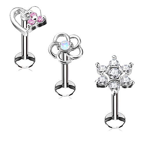 Surgical Steel Labret Stud - MoBody 3PCS Labret Piercing Studs Set 16G Surgical Steel Internally Threaded Monroe Lip Ring Helix Earring (6mm Length)