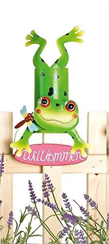 Gilde Zaung/äste Zaunhocker Coole Tiere Metall Gartenfigur Gartendeko 4er-Set Katze Biene Frosch Marienk/äfer