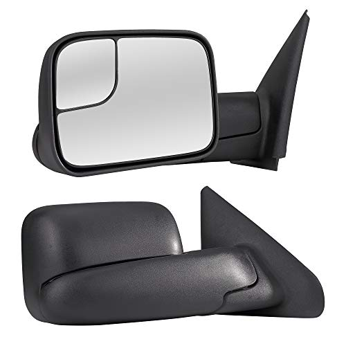 (Towing Mirrors Passenger & Driver Side Manually Operated With Black Finish Fits 02-09 Dodge Ram 1500 2500 3500 Truck Towing Black Flip-Up Mirror Pair - Manual Folding)
