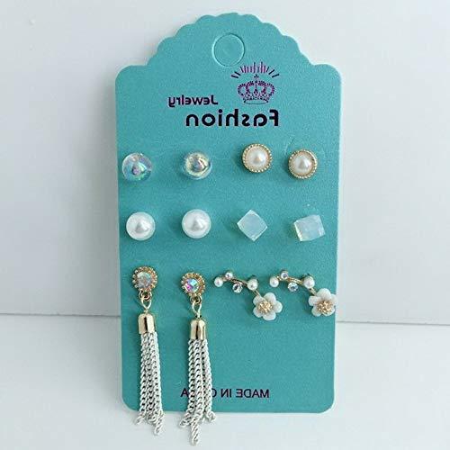 Crookston 6 Pairs/Set Boho Women Crystal Pearl Flower Ear Stud Earrings Charm Jewelry Gift | Model ERRNGS - 1316 |