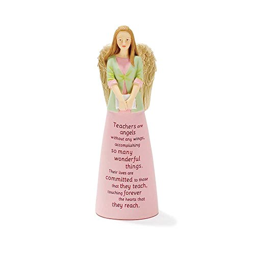 (Teachers are Angels Without Wings Pink 6 Inch Resin Tabletop Angel Figurine)