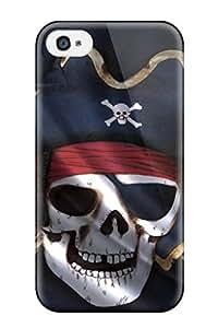 For Iphone 4/4s Fashion Design Black Pirate Flag Case-kKdFEGJ3686rDLUB