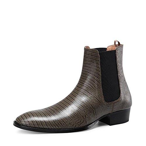 Jinfu - Puntera De Cuero Para Hombre, Pull On Chelsea Botines, Zapatos De Montar, Motocicleta