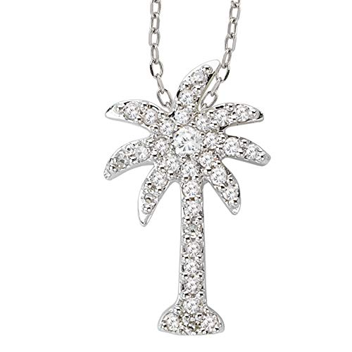14k White Gold Over .925 Silver Petite Palm Tree Pendant with CZs (0.14ctw) ()
