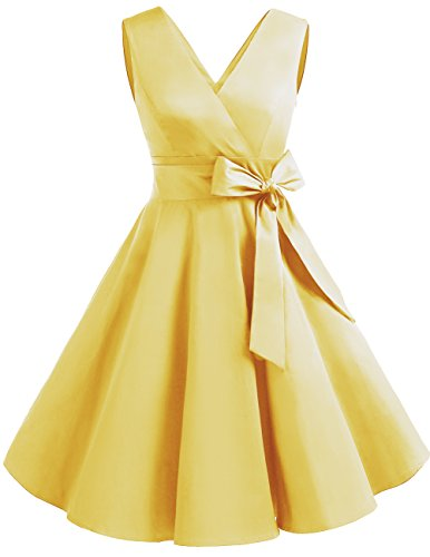 DRESSTELLS Vintage 1950s Solid Color V Neck Retro Swing Dress with Bow Tie Yelllow M