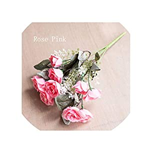 crystal004 12 Heads Pink Blossom Rose Flower Vivid Mini Silk Artificial Flowers Bouquet Decoration for Wedding Home Life,Rose Pink 10