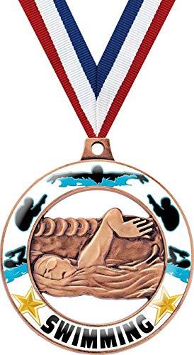 水泳メダル 2インチ ブロンズ水泳グロー Rimz 4.0 メダルアワード B07GHMTZZ6  50