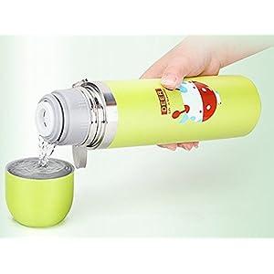 SoleSa Animal Motifs Cartoon Bullet Head Stainless Steel Vacuum Thermal Insulation Cups 500ml (Rabbit-Pink)