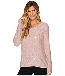 Rose Duct Sequin Long Sleeve Scoop Sweater
