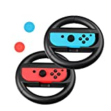 Kungber Joy-con Steering Wheel Controllers for Nintendo Switch Games Accessory with 2 Anti-slip Thumb Stick Caps Gel Guards