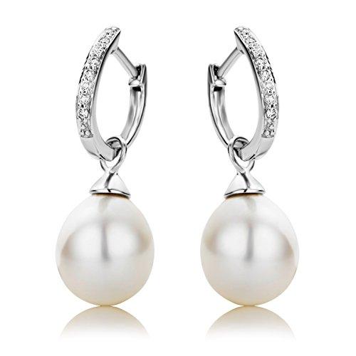 Miore - Boucles d'Oreilles Femme - Or blanc 375/1000 (9 carats) 1.07 gr - Diamant - Perle d'eau douce
