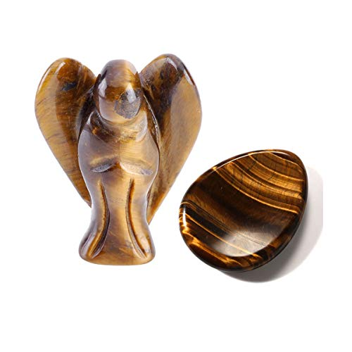 CrystalTears Natural Tiger Eye Stone Carved Guardian Angel Statue and Thumb Worry Stone Pocket Stone Healing Crystal Fengshui Ornament Decor