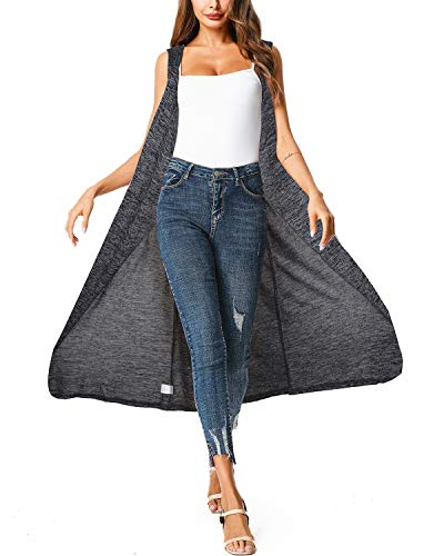 ZEGOLO Womens Casual Sleeveless Open Front Cardigan Sweater Vest with Pockets and Belt Dark Grey 2X-Large