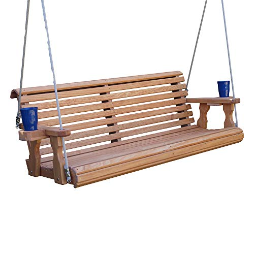 Amish Heavy Duty 800 Lb Roll Back Treated Porch Swing with Hanging Ropes and Cupholders (5 Foot, Cedar Stain)