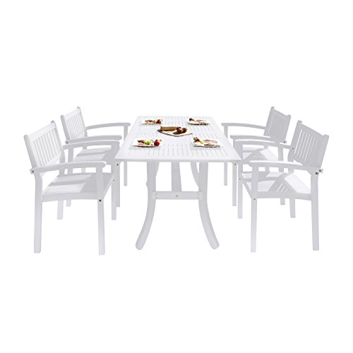 VIFAH V1337SET25 Bradley Outdoor Patio Wood 5-Piece Dining Set with Stacking Chairs, White (Dining Set White Wood Patio)