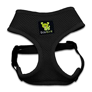 Luxurious Comfort Dog Harness 4-65 lbs; Innovative No Pull & No Choke Design, Soft Double Padded Vest for Control, Eco-Friendly w/ Quick Release, for Puppies and Dogs (Black, XS)