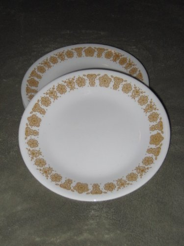 SET OF 8 - Vintage 1970's Corelle Corning Ware Butterfly Gold 7 Inch Bread / Dessert Plate