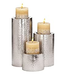 Deco 79 Metal Candle Holder, 11 by 7 by 4-Inch, Stainless Steel, Set of 3