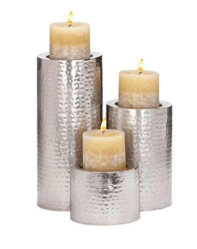 Deco 79 Metal Candle Holder, 11 by 7 by 4-Inch, Stainless...