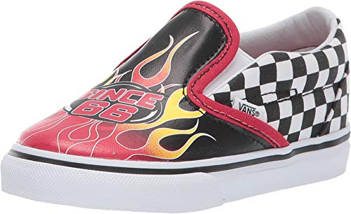 Vans Toddler T Classic Slip ON Race Flame Black Racing RED WH Size 8 (Red Vans Infant)