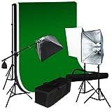 LimoStudio 3pcs 6x9 Chromakey Green Black White Screen Muslin Backdrops Background Support Kit 2400 Watt Photography Video Lighting Studio Photo Portrait Lights with Case, LMS893