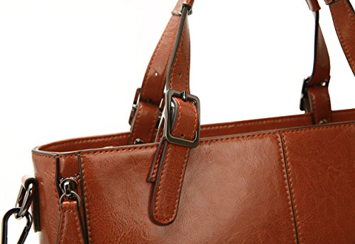 Shoulder Genuine Tote Iswee Leather Big Clearance On Satchel Bag Sale Urban Brown kr002 Purse Style Handbag Women's Top Handle Vintage tvOxX