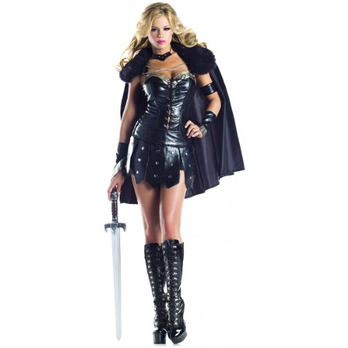 Be Wicked Costumes Women's Warrior Princess Costume, Black/Silver, Medium/Large