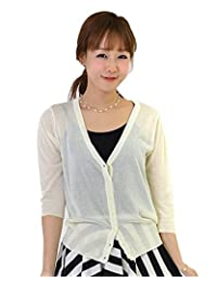 Amoy-Baby Three-quarter Sleeve Women Loose Button Down Knit Cardigan Office KS158