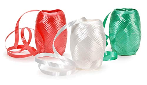 Christmas Holiday Curling Gift Wrap Ribbon Kegs - 3 Rolls - Emerald Green, Ruby Red, Snowflake White - 65 Ft Each