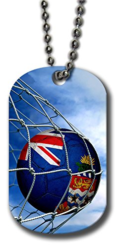 - Aluminum Dog Tag Necklace and Key Ring - Flag of Cayman Islands (Caymanian) - Soccer