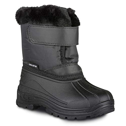 Chillipop Colored Insulated Snow Boots for Boys, Girls, Little Kids, Size 3, Black