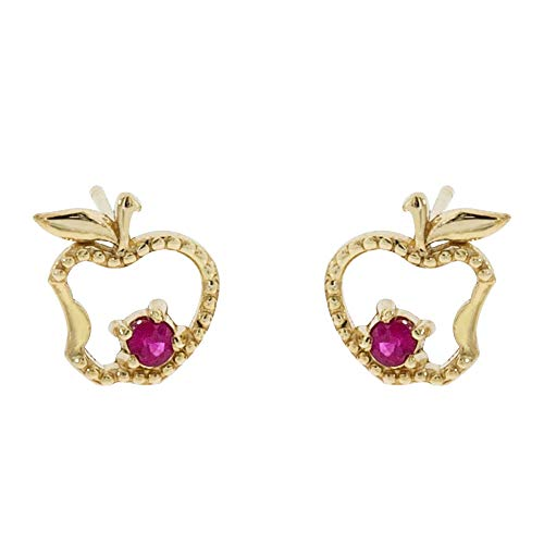 Disney Princess Snow White Jewelry for Girls, 14KT Gold and Ruby Apple Stud Earrings ()