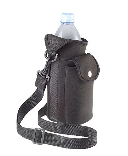Smooth Trip Neoprene Water Bottle Carrier Bag with Phone Case and Zip Pocket (Black)