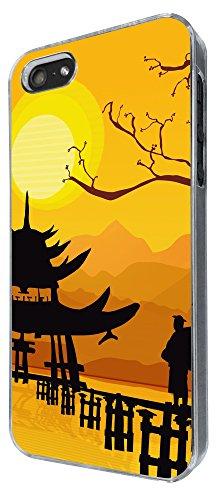 882 - Oriental House Sunset Temple Design iphone 5 5S Coque Fashion Trend Case Coque Protection Cover plastique et métal