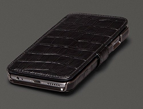 Sena Genuine Leather Wallet Book Classic Case for Iphone 6 Plus / 6s Plus (5.5 -inch) (Croco Black)