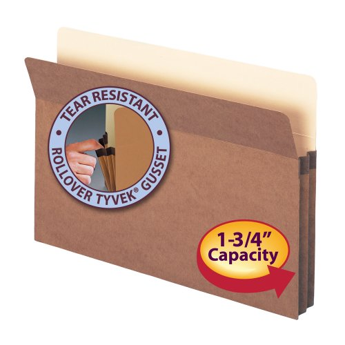 "File Pocket, Straight-Cut Tab, 1-3/4"" Expansion, Legal Size, Redrope, 25 per Box (74214) Photo #4"