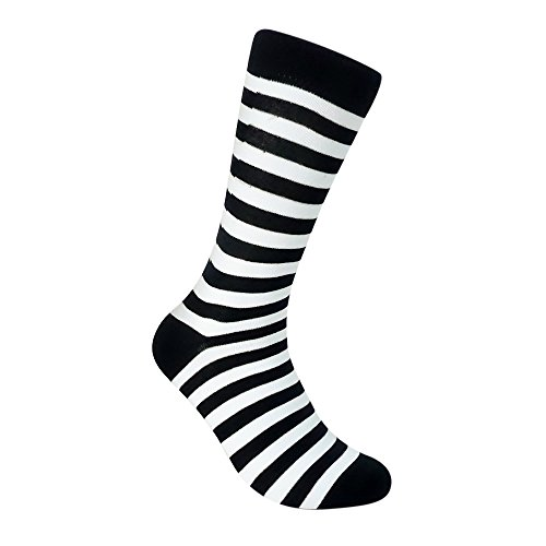 Ivory + Mason Striped Socks for Men - Dress Sock - Colorful - Black and White Color - Cotton - Size 8-13 (One Pair)