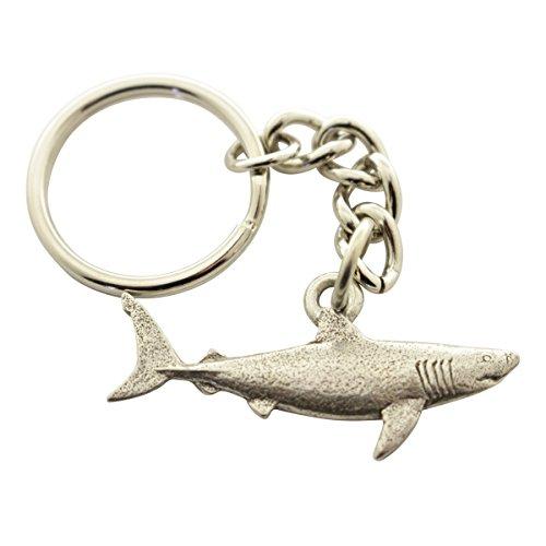 Sarah's Treats & Treasures Great White Shark Keychain ~ Antiqued Pewter ~ Keychain