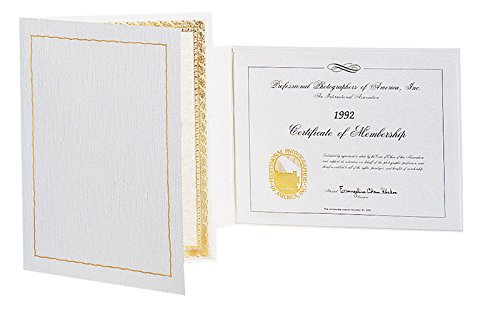 Atlas Certificate Folder (8-1/2'' x 11'', Ivory/Gold) Qty. 25 by TAP Packaging Solutions (Image #1)
