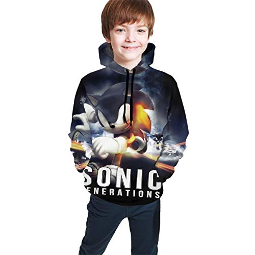 Sonic Youth Halloween 12 (Boys Girls Winter Warm Long Sleeve Hoodie, Youth Distressed Hooded Pullover Apparel for Running Halloween Party, Sonic Generations Game Poster 3D Design)