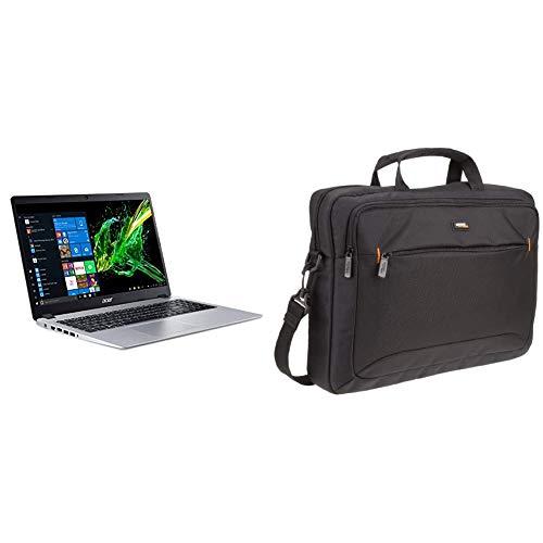 Acer Aspire 5 Slim Laptop, 15.6%22 Full HD IPS Display, AMD Ryzen 3 3200U, 4GB, 128GB SSD, Backlit Keyboard, Windows 10 & AmazonBasics 15.6-Inch Laptop Computer and Tablet Shoulder Bag Carrying Case