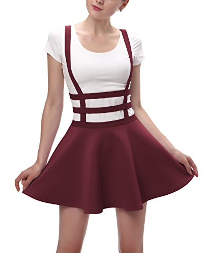 (Urban CoCo Womens Elastic Waist Pleated Short Braces Skirt (M, Windsor Wine))